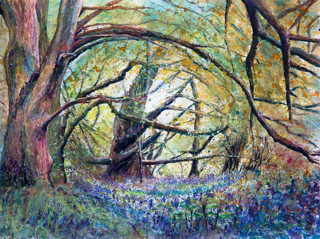 Bluebell Woods painting by Lez Gray