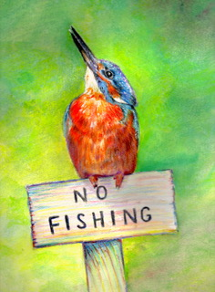King Fisher painting by Lez Gray