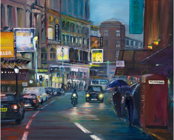 Shaftesbury Avenue painting by Lez Gray